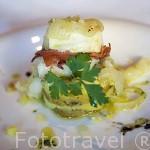 Plato de Bacalao relleno de jamon y una base de patata. Hotel Six Senses. Pueblo de SAMODAES. Zona del rio Duero. Portugal