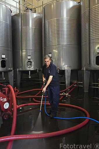 Lavado con agua a presion de los recipientes de acero inoxidable y suelos. Empresa Sandeman. Quinta do Seixo. Cerca de REGUA. Valle del Duero. Portugal