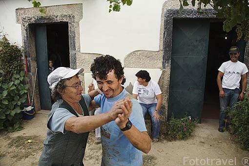 Final de la vendimia. Después de varias semanas vendimiando todos celebran con bailes y vino el final de la vendimia. Quinta da Avessada. Cerca de FAVAIOS. Valle del Duero. Portugal