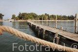 Pequeño muelle de madera. Población de Djiffer junto al rio y delta de Saloum. Senegal. Africa