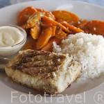 Plato de barracuda con arroz y verduras frescas. Delta del Saloum. Senegal. Africa