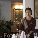 "Restaurante ""Supatra River House"". Junto al rio Chao Phraya. BANGKOK. Tailandia"