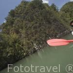 En kayak entre acantilados. Cerca de KO LANTA, varias empresas ofrecen sus servicios. Tailandia