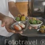 Variedad de Dim Sum dispuestos a ser servidos. Ciudad de TRANG. Tailandia