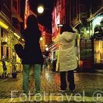 """Restaurantes en la calle """"rue Bouchers"""". BRUSELAS. Belgica"""