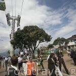 Personalidades y compradores internacionales de la idea del metrocable. Barrio de Santo Domingo. MEDELLIN. Departamento de Antioquia. Colombia