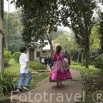Niños jugando en los jardines del Museo del Castillo. MEDELLIN. Departamento de Antioquia. Colombia
