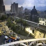 Vista de la Plaza Botero, el Palacio de la Cultura y el viaducto del Metro. MEDELLIN. Departamento de Antioquia. Colombia