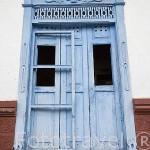 Balcones de madera. Pueblo colonial de SAN ANTONIO. Alrededores de la ciudad de Medellin. Departamento de Antioquia. Colombia.