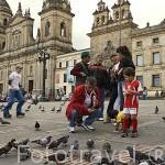 Familia dando de comer a las palomas. Detras la Catedral Primada, reconstruída varias veces entre 1538 y 1823. En la Plaza de Bolivar. BOGOTA. Colombia