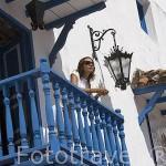 Balcon de madera de estilo colonial en un casa. Ciudad Vieja. CARTAGENA DE INDIAS. Colombia