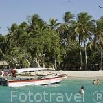 Embarcación y bañistas frente a Playa Blanca. Islas del Rosario. Mar Caribe. CARTAGENA DE INDIAS. Departamento de Bolivar. Colombia