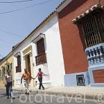 Calle en el centro historico de CARTAGENA DE INDIAS. Colombia
