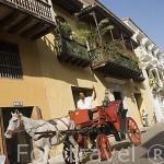 Carroza dando un recorrido turistico por el centro historico. CARTAGENA DE INDIAS. Colombia