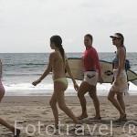 Mujeres surfistas en la playa de Sunzal. Departamento de la Libertad. El Salvador. Centro américa.