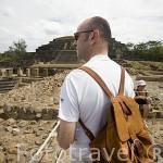 Ruinas de piramides en el complejo arqueológico de Tazumal. Al noroeste de San Salvador. Centro américa.
