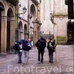 Rua do Villar y peregrinos. Calle centrica de SANTIAGO DE COMPOSTELA. A Coruña. Galicia. España