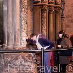 Peregrinos y visitantes ante el portico de la Gloria y la escultura del apostol Santiago. Catedral de SANTIAGO DE COMPOSTELA. A Coruña. Galicia. España