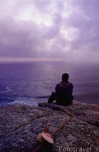 Fin del camino de Santiago y el oceano Atlantico. FINISTERRE / FISTERRA. A Coruña. Galicia. España