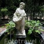 Detalle de la estatua de la Madama rodeada por cipreses. Patio de la Madama. Palacio de Viana. Ciudad de CORDOBA. Patrimonio de la Humanidad. Andalucia. España