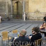 Terrazas junto a la puerta de Santa Catalina. Mezquita Catedral. Ciudad de CORDOBA. Patrimonio de la Humanidad. Andalucia. España