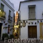 Plazuela al final de la calle de las Flores. Al fondo la torre de la Mezquita Catedral. Ciudad de CORDOBA. Patrimonio de la Humanidad. Andalucia. España