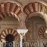 Arcos en la nave central. Salon de Abd al-Rahman III. El conjunto arqueologico Madinat al-Zahra. En las afueras de la ciudad de CORDOBA. Andalucia. España