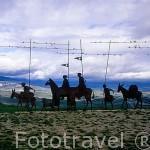 """Figuras de hierro """"Monumento al peregrino"""". El Alto del Perdón. PAMPLONA. Navarra. España"""