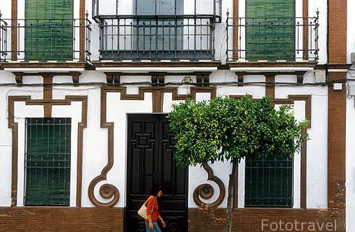 Fachada de una antigua casa, cerca de la calle Llana. CAZALLA DE LA SIERRA. Sevilla. España