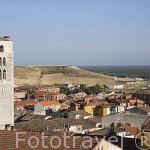 Torre de la iglesia de El Salvador. Pueblo de CUELLAR. Comarca de Tierra de Pinares. Segovia. Castilla y León. España