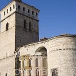 Iglesia mudejar de Santa Maria. Con abside en la plaza de Sinodo. En AGUILAFUENTE. Comarca de Tierra de Pinares. Segovia. Castilla y León. España