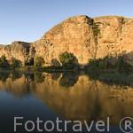 El rio Duraton a su paso por el pueblo de SAN MIGUEL DE BERMUY. Comarca de Tierra de Pinares. Segovia. Castilla y León. España