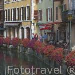 Casas coloridas junto al rio Thiou, cerca de la plaza St- Francois de Sales. ANNECY. Alta Saboya. Rhones Alpes. Francia.