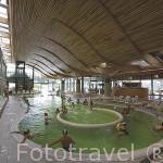 Interior de las Termas Chevalley (2000, arquitecto Stanislas Fiszer). Ciudad de AIX LES BAINS. Saboya. Rhones Alpes. Francia