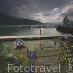 El lago Bourget (es el lago natural mas grande de Francia, 18 km de largo y 3,5 km de ancho). Puerto deportivo de AIX LES BAINS. Saboya. Rhones Alpes. Francia