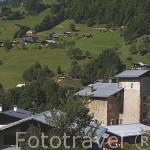 Casa solariega con su torre de piedra de la familia De Bieux. FLUMET. Valle de Arly. Alta Saboya. Rhones Alpes. Francia