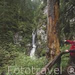 Senderistas y la cascada de la Belle au Bois. Cerca de MEGEVE. Valle de Arly. Alta Saboya. Rhones Alpes. Francia