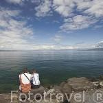 Puerto deportivo de la ciudadela de YVOIRE sobre el lago Leman. Alta Saboya. Rhones Alpes. Francia