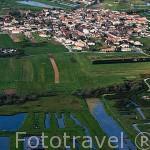 Vista aerea de la poblacion de ARCEAU, cerca de Saint Pierre. Isla de Oleron. Francia