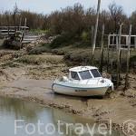 Canal de La Seudre y embarcaciones varadas en marea baja. Cerca de MARENNES. Frente a la isla de Oleron. Francia
