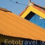 Casas almacen de madera. Puerto ostricola de LE CHATEAU D´OLERON. Isla de Oleron. Francia