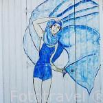 Detalle pintado en una casita para bañistas en la playa de La Boirie. SAINT DENIS D´OLERON. Isla de Oleron. Francia