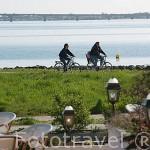 Paseando en bicicleta frente a la poblacion de SAINT TROJAN. Isla de Oleron. Francia