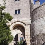 Recinto amurallado y puerta des Ormeaux. Pueblo medieval de Cordes Sur Ciel. Tarn. Francia