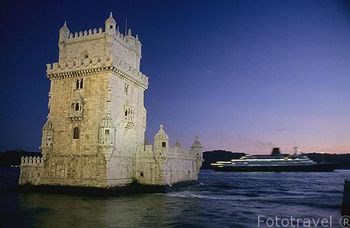 La torre de Belém a orillas del río Tajo. Servia para controlar el trafico maritimo. LISBOA. Portugal