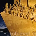 Detalle del Monumento al Descubrimiento (Padráo dos Descobrimentos)a orillas del río Tajo. Ciudad de LISBOA. Portugal