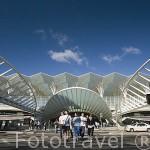 La estacion de Oriente diseñada por Santiago Calatrava, en el parque de las Naciones. Ciudad de LISBOA. Portugal