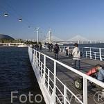 Paseo maritimo que recorre junto al rio Tajo la Expo del 98. Al fondo la Torre de Vasco de Gama. Parque de las Naciones. LISBOA. Portugal