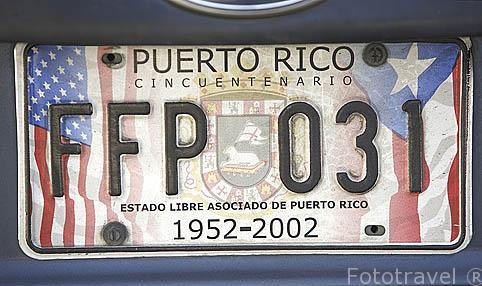 Matricula de un vehiculo del estado libre asociado de PUERTO RICO