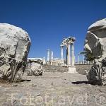 Vista del templo de Trajano con columnas corintias. Ruinas de Pergamo en lo alto de la colina. PERGAMO / BERGAMA. Egeo. Turquia.